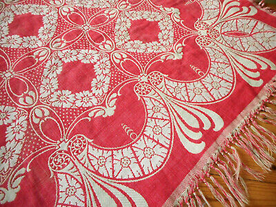 Antique 19th Turkey Red Floral Swag Linen Cotton Damask Jacquard Woven Fabric #3