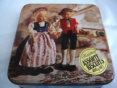 Regency Biscuits tin boy and girl doll on lid cute collectable advertising