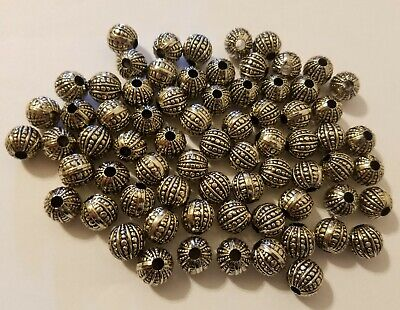 50 pcs Silver Fluted Corrugated Plastic Craft Jewelry Macrame Beads 12mm Round