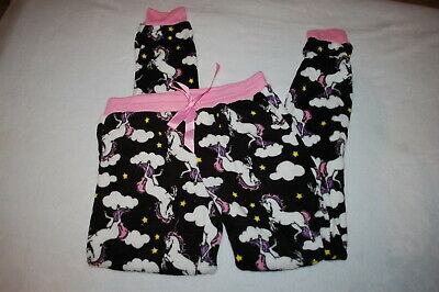 Jr Womens BLACK PLUSH FLEECE PAJAMA PANTS Sleep Lounge UNICORNS CLOUDS Size S