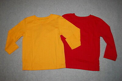 Toddler Boys 2 LOT L/S TEE SHIRT Solid Color GOLD YELLOW & RED Size 2T 3T 4T 5T