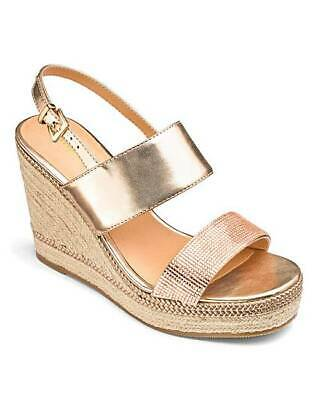 Ladies Rose Gold Eee Extra Wide Fit Diamante Wedges Sandals Shoes Uk 4-9