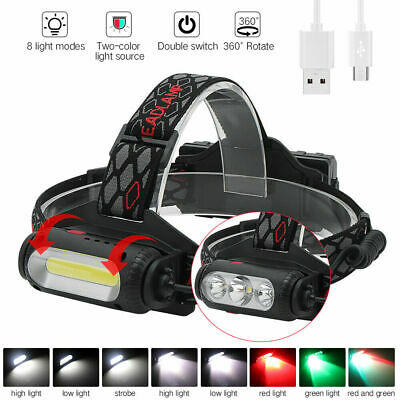 USB Rechargeable Headlamp White/Red/Green Light 3XLED Hunting Headlight 2X18650