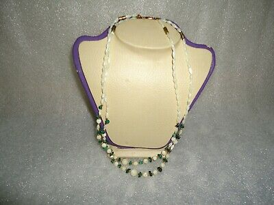 old necklace white mother of pearl and green malachite very beautiful
