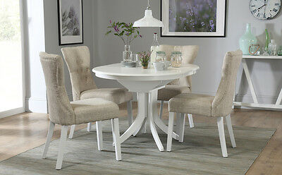 Hudson & Bewley White Round Extending Dining Table & 4 6 Chairs Set (Oatmeal)