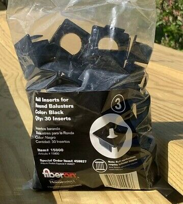 NEW FIBERON BLACK Stair Round Balusters Inserts - 30-Pack