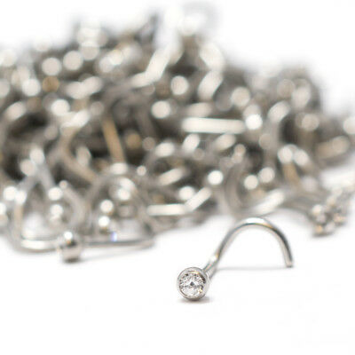 Nose Ring Wholesale Lot 200 Surgical Steel Stud Screws with Clear Cz Gem