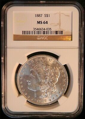 1887-P Morgan Silver Dollar NGC MS 64 JL49
