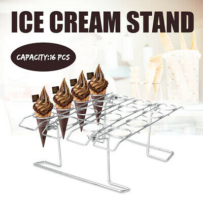 16 Cones Cavity Ice Cream Display Stand Iron Shop Cone Chip Counter Top Holder