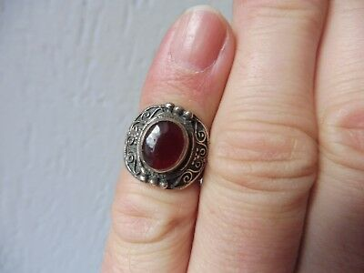 Beautiful, Old Ring ___ 925 Silver with Red Brown Stone ____