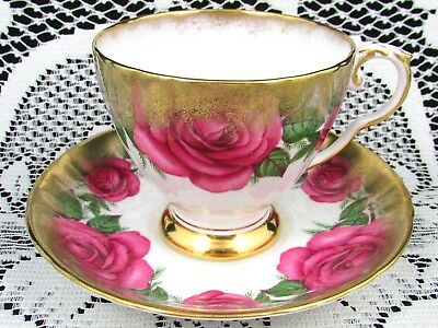 Royal Grafton Deep Pink Roses Heavy Sponged Gold Tea Cup And Saucer
