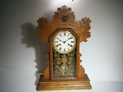 Antique All Wood E. Ingraham Flower Violet Kitchen Clock For Parts Or Repair