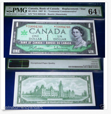 "1967 Canada $1 REPLACEMENT / STAR * N/O  ""Centennial Issue"" BC-45ba PMG UNC 64"
