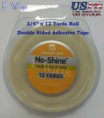 "WALKER No Shine Tape Hair System Tape 3/4"" by 12 Yards Roll Double Side Adhesive"