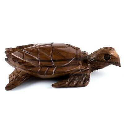 """Unique Hand Carved Wood Wooden Ironwood Sea Turtle Figurine 5"""" Long"""