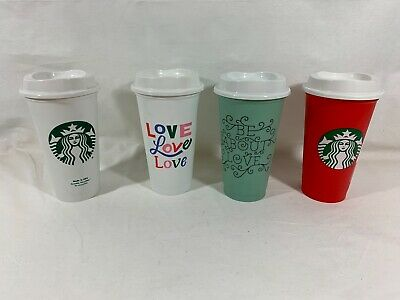 Starbucks Reusable Set of 4 Lot Plastic Coffee Cup Be About Love Red Holiday