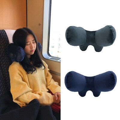 Inflatable Travel Neck Pillow Head Rest Support Air Plane Sleep Soft Cushion