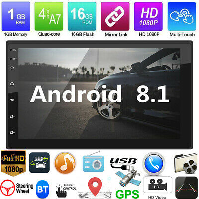 """Android8.1 GPS Navigation WiFi 7"""" 2Din Quad Core Car Stereo MP5 Player Autoradio"""