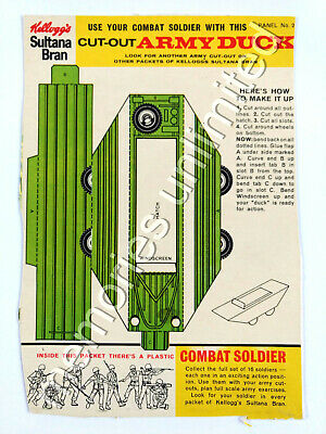 """1960s Kellogg's """"COMBAT SOLDIER"""" ARMY DUCK BACK PANEL Kelloggs cereal r&l"""