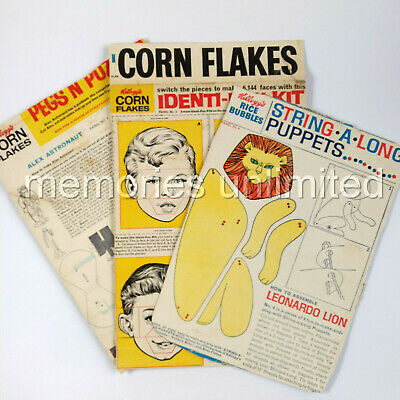 1960s Kellogg's ASSORTED LOT OF 3 BACK PANELS (String..., Identi.., Pegs...)