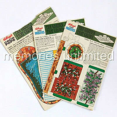 """1960s Kellogg's """"THE GARDEN THAT GROWS"""" LOT OF 3 BACK PANELS kelloggs cereal r&l"""