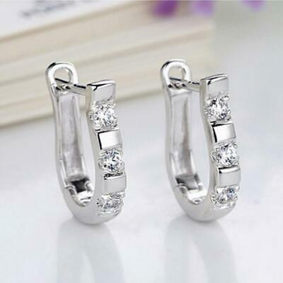 New Jewelry Fashion Woman Charm Rhinestone 925 Silver Earring Lover Gift 1pair