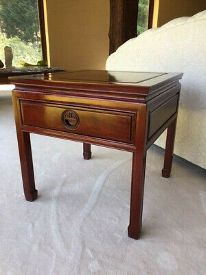 Solid Mahogany Oriental Side Tables with Drawer (Set of 2)