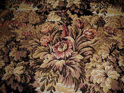 Antique French Floral Foliage Jacquard Tapestry Cotton Fabric ~ Deep Rose Olive