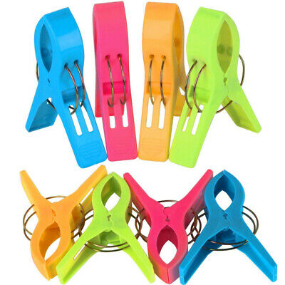 TRIXES Pack of 8 Large Bright Colour Plastic Beach Towel Pegs Clips for...