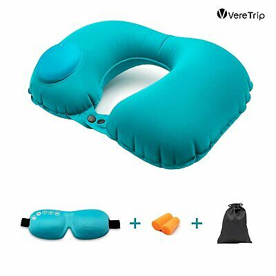 Inflatable Air Travel Pillow Airplane Neck Head Soft Cushion Office Nap Rest New