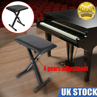 Foldable Keyboard Piano Stool Padded Seat X Frame Chair Height Adjustable Black