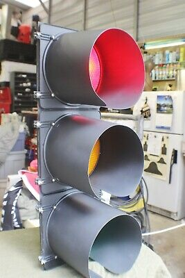 "Black Metal 42"" Traffic Signal Reconditioned W/ 24 Modes Of Signal Flashing Read"