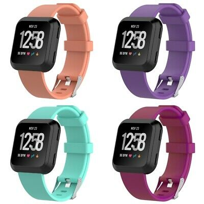 4 PACK For Fitbit Versa Replacement Silicone Bands Watch Sport Band Large Size