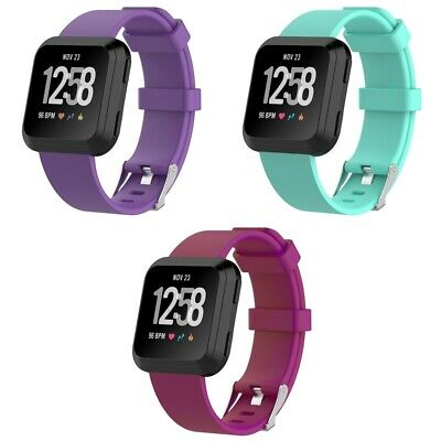 3 PACK For Fitbit Versa Replacement Band Smart Watch Sport Small Purple Teal