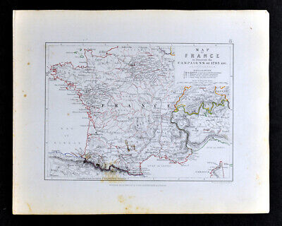 1855 Johnston Military Map France Campaigns of 1793 French Revolution Paris