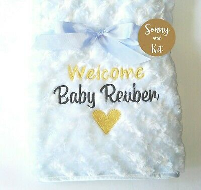 Personalised Baby Boy Girl Gender Neutral Blanket, Embroidered Welcome Baby Gift