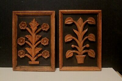 2 Vintage BOHO MCM Framed Carved Wood Plant or Tree Floral Wall Hangings 1960's