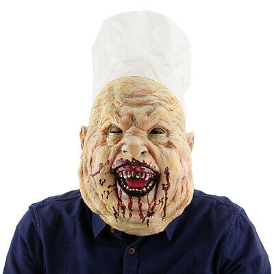 Full Head Toothy Bloody Butcher Mask Halloween Costume Cosplay Party Props T5R6