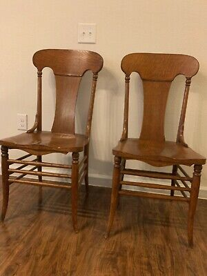 Victorian Antique Oak High Back Dining Chairs, Set of 2