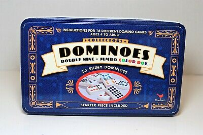 Cardinal Double 9 Color Dot Dominoes in Collectors Tin styles will vary