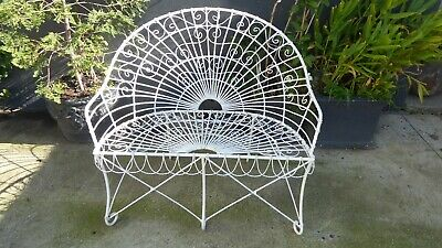 Vintage French Provincial Garden Bench 2 Seat Chair Wrought Iron Scrolled Wire