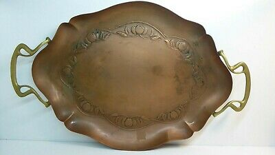 Antique Brass & Copper Art Nouveau Tray Embossed Fruit & Leaves