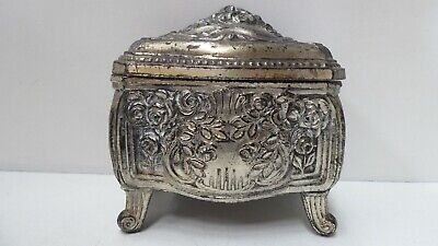 Antique Art Nouveau Trinket Jewellery Box Silver Plated Pewter Lined Inside