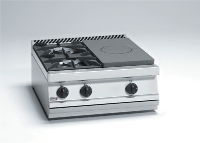 Fagor Gas Target Top with Open Burner - 2 Burner + Solid Top Right - CG7-30-D