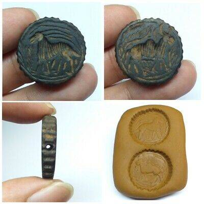 Unique Near Eastern Animal Bactrian Craved Old Black Stone intaglio Seal Bead