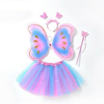 Fairy Princess Colorful Butterfly Wings Tutu Kids Girl Lovely Party Costume 4pcs