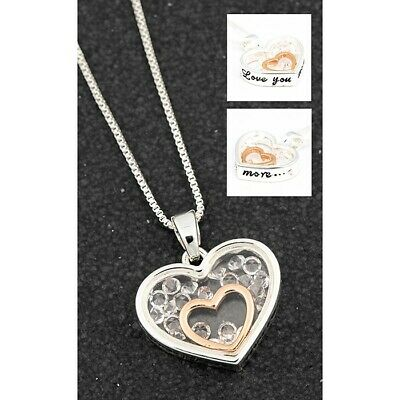 Equilibrium Stylish Heart Pendant Necklace Silver or Rose Gold Plated BNIB 49445