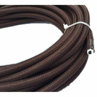 Brown Round 18/2 Antique Cotton Covered Cord -Cloth Electrical Wire 25' Gauge By