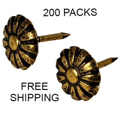 Brass-Plated Antique Daisy Furniture Nails Decorative Upholstery Tacks 25-Packs