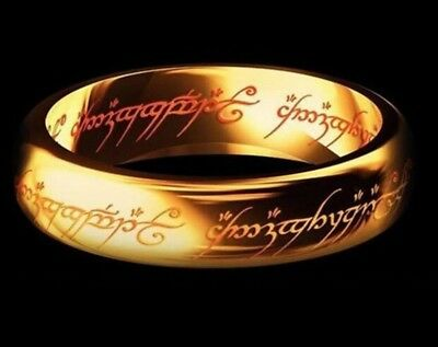 Gold Lord of the Rings Ring Mens Jewellery Magic Wizzard Engagement Middle Earth